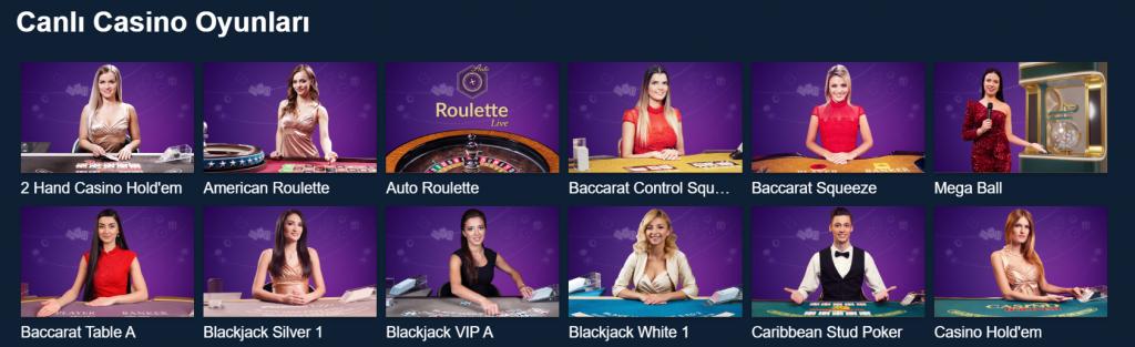 Canlı Casino lobisi